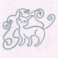 Swirl Kitty Cat embroidery design