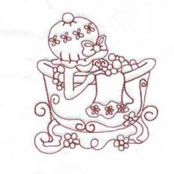 Bathtub Girl embroidery design