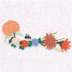 Flower Bee Border embroidery design