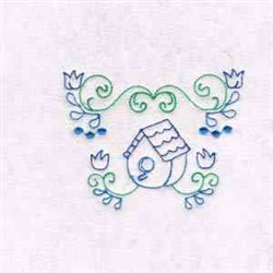 Bird House Border embroidery design
