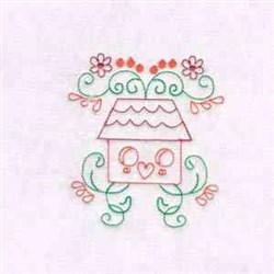 Bird House Swirls embroidery design