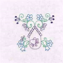 Floral Bird House embroidery design