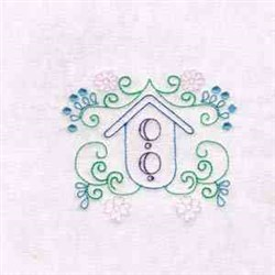 Bird House Flowers embroidery design