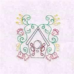 Swirl Flower Birdhouse embroidery design