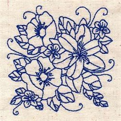 Floral Bluework embroidery design
