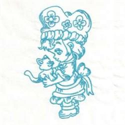Bluework Girl Kitty embroidery design