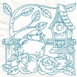 Birdhouse Flowers embroidery design