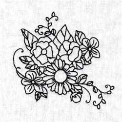 Outline Blossom embroidery design