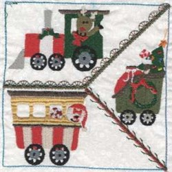 Christmas Train Square embroidery design