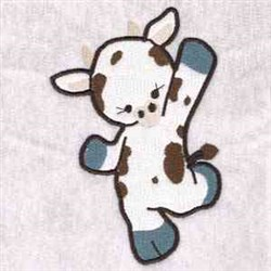 Waving Cow embroidery design