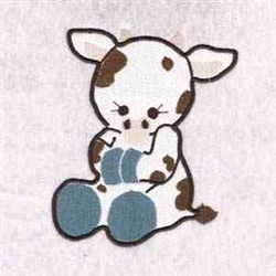 Sitting Cow embroidery design