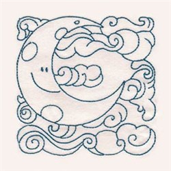 Redwork Cute Moon  embroidery design