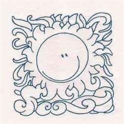 Redwork Cute Sun embroidery design