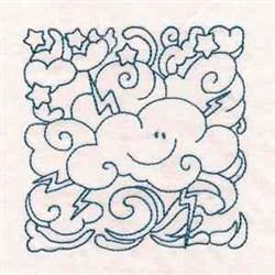 Redwork Cute Cloud embroidery design