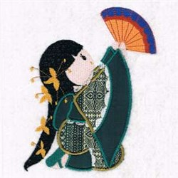 Geisha Fan Applique embroidery design