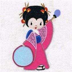 Drum Geisha Applique embroidery design