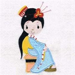 Sitting Geisha Applique embroidery design