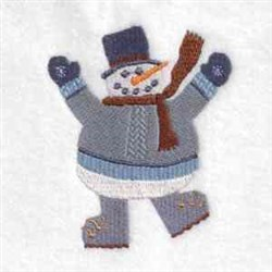 Waving Snowman embroidery design