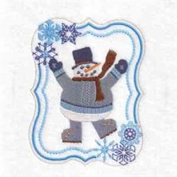 Waving Snowman Frame embroidery design
