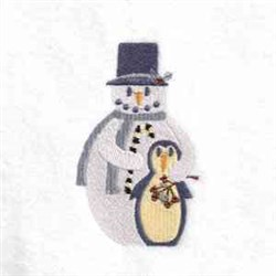 Snowman Penguin embroidery design