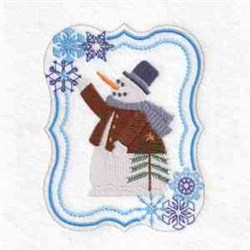 Snowman Tree Frame embroidery design