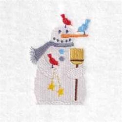 Broom Snowman embroidery design