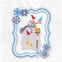 Broom Snowman Frame embroidery design