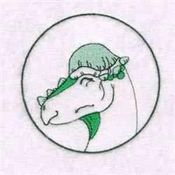 Pachycephalosaurus Circle embroidery design