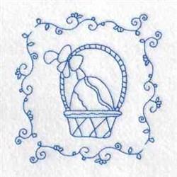 Egg Basket Redwork  embroidery design