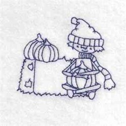 Boy Pumpkin Outline embroidery design