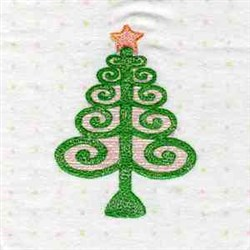 Swirl Christmas Tree embroidery design