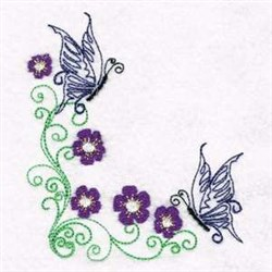 Butterfly Flower Corner embroidery design