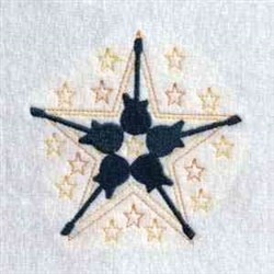 Floral Star Guitar  embroidery design