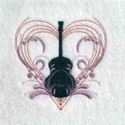Floral Heart Guitar embroidery design