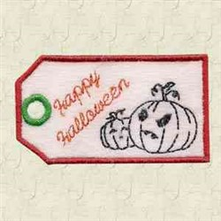 Jack-O-Lantern Tag embroidery design