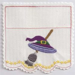 Witch Hat & Broom embroidery design