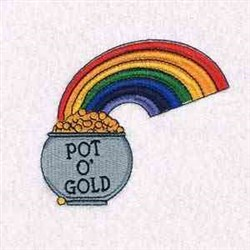 Rainbow and Gold embroidery design