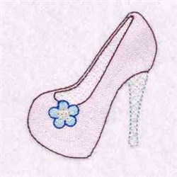 Flower High Heel embroidery design