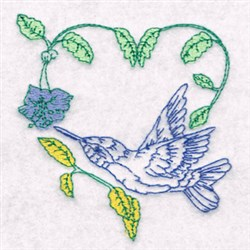Hummingbird Vine embroidery design