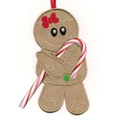 Candy Cane Gingerbreadman embroidery design