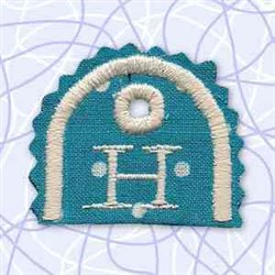 Alphabet Tag H embroidery design