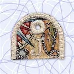 Alphabet Tag J embroidery design