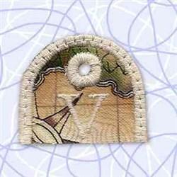 Alphabet Tag V embroidery design