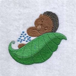 Baby On Leaf embroidery design