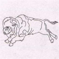 Blackwork Raging Bull embroidery design