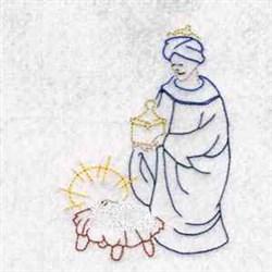 Color Lined Nativity Scene embroidery design