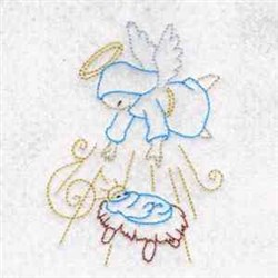Color Lined Nativity Scene embroidery design