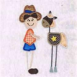 Cowboy & Horse embroidery design