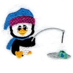 Fishing Penguin embroidery design