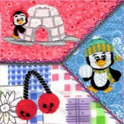 Penguin Snow Fun Quilt embroidery design